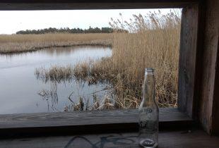 Tyhjä pullo ikkunalaudalla