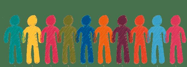 Useita piirrettyjä ihmishahmoja seisomassa käsi kädessä, yhdessä.