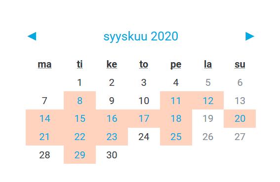 Kuvio 2. Oppimisalustana hyödynnettävän Moodlen syyskuun 2020 kalenterissa on merkitty kaikki ne päivät jolloin opiskelija työskentelee aktiivisesti.