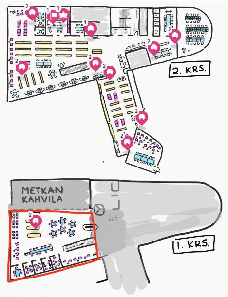 Kuvakaappaus Metropolian Myllypuron kampuksen kirjason Seppo-pelialustasta. Pelialusta on piirretty pohjakartta kirjastosta, jossa näkuvär kirjaston tilat, kalusteet ja ympärillä olevat toiminnot. Pelin paikat on merkitty.