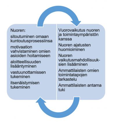 Siirtymisvaiheessa huomioitavat käytännöt nuoren toimijuuden vahvistumiseksi (Alanko ym. 2015; Fegran ym. 2012; Lindh ym. 2017; Malone ym. 2019)