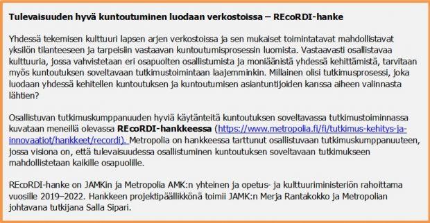 Teksti REcoRDI-hankkeesta