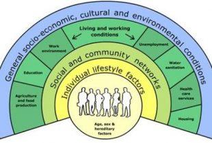 Kuva 1. Sosioekologinen malli, (Dalhgren & Whitehead 1991).